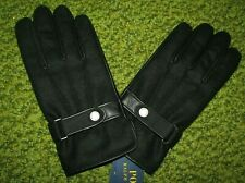 Men's $68. (L) POLO-RALPH LAUREN Black Leather/ Wool TOUCH Gloves