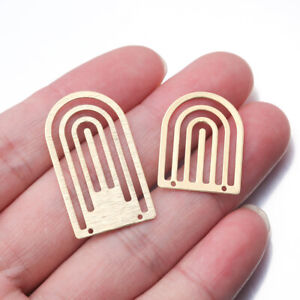 10X Charms Brass Hollow Arch U Shaped Charms Connector For DIY Necklace Earrings