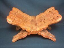 Vtg Indian Recipe Book Holder Stand Sheesham Wood Hand Carved Old Folk Art India