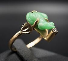 Vintage 18k Yellow Gold Diamond Carved Jade Lucky Frog Toad Ring Size 6.5 RG945