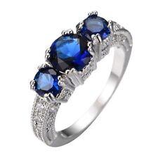 Fashion Women Blue Sapphire 925 Silver Ring Engagement Wedding Jewelry Size 5-11