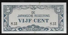 Neth. Indies Japanese Invasion Money 5 Cents 1940's S31 Block