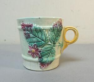 "BEAUTIFUL 19th C. ENGLISH MAJOLICA ""BEGONIA LEAF"" COFFEE MUG, c. 1880"