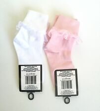Pack Of 2 Girls Dress Ankle Socks-Lacy, Ruffled, Easter, Formal, Pageant, 4 5 6