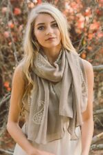 Bohemian Embroidered Heart Paisley Long SCARF Shawl Wrap Cover Up Sarong Taupe