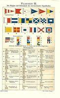 Stampa Antica 1893 BANDIERE NAUTICHE = Marina Navi = CROMOLITOGRAFIA Old Print