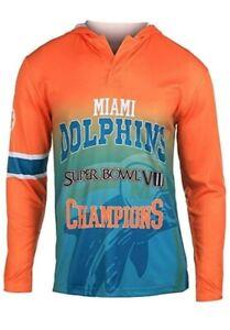 NFL Miami Dolphins Super Bowl VIII Champions Hood Long Sleeve Tee Mens Medium