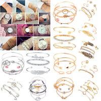 Fashion Women's Jewelry Bracelets Chain Cuff Bangle Crystal Charm Bracelet Set