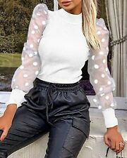 UK Womens Ladies Tee Party Jumper Mesh Lace Blouse Polka Dot Shirt Pullover Tops