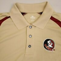Florida State Seminoles Short Sleeve Polo Shirt Mens Size Large Beige Red