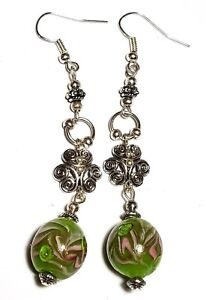 Long Silver Green Earrings Drop Dangle Glass Bead Statement Boho Hippy Gypsy