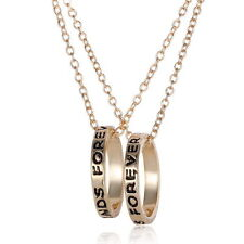 Set Pendants 2 Necklace Friendship Ring New Bff Gold Rings Best Friend Forever