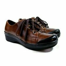Dansko Veda Womens Sz 39 US 8.5-9 Brown Leather Lace Up Oxford Nursing Clogs