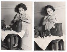 PHOTO Classe de Maternelle 1950 École Écolier Jeu miniature Armoire Poupée Ours