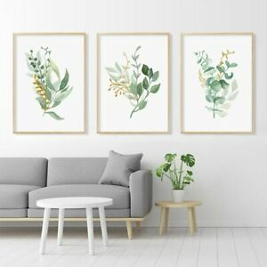 Leaf Floral Gold Minimalist Posters Modern Canvas Painting Wall Print Pictures