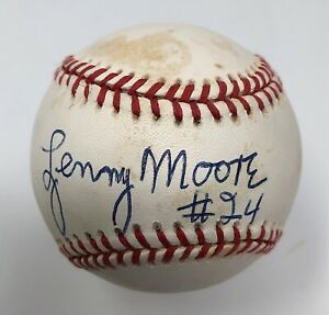 Lenny Moore Signed Baseball Baltimore Colts NFL HOF Autograph JSA