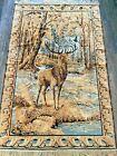 """Vtg Deer Elk Velvet Velour Wall Tapestry Art Silvery Accents Belgium 75"""" x 49"""""""