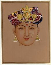 Indian Miniature Painting Of Beautiful Lady With Turban Handmade Fine Artwork