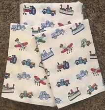 pottery barn kids Transportation Flat Full Sheet & 2 Pillow Cases ~Set of 3~