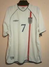2001 DAVID BECKHAM ENGLAND NATIONAL FOOTBALL TEAM # 7 WHITE HOME SHIRT UMBRO XL