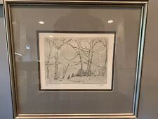 "Claude C Curry Bohm Etching ""Snow On The Hill"" 29/36 Signed"