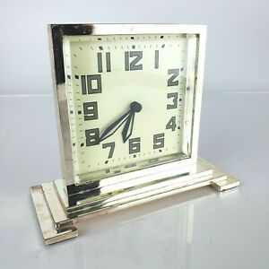 Pottery Barn Art Deco Heavy Silver Metal Desk Clock