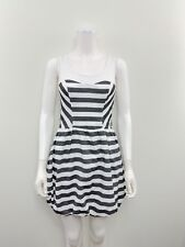 TOPSHOP Women's Size 4 Sleeveless White Gray Striped Casual Dress