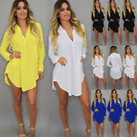 Womens Loose V Neck Chiffon Shirt Long Sleeve Casual Dress Tops Blouse Plus Size