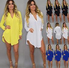 Womens Loose V Neck Chiffon Shirt Long Sleeve Casual Dress Tops Blouse Plus Size
