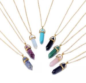 Gold Gemstone Pendant Necklace Choker Natural Quartz Crystal Healing Stone UK