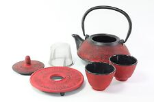 24 fl oz Red Archaize Japanese Cast Iron Teapot Tetsubin Infuser Tea Set