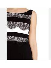 New🌹COAST🌹Size 10 Lee Lace Stripe Sleeveless Dress Black White (Mono) Wiggle