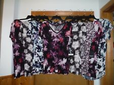 Short Sleeve V-Neck Blouses Simply Vera Vera Wang XL,L,M,S,Multi Color 100% rayo