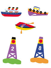 Boats Buoys 25 Olive Kids Row Steam Tug Ship Nautical Wallies Wall Decals Border