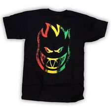 Spitfire Wheels Striped Skateboard T Shirt Black w/Red/Yellow/Green Medium