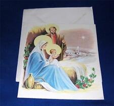 Fab 1950s Die Cut Religious Holy Family Bethlehem Unused Xmas Greeting Card/Env