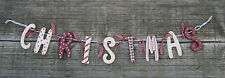Vintage Chic Christmas Sign Garland Wall Shabby Decoration Hanging Mantel Craft
