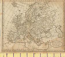 c1815 MAP ~ EUROPE ~ BEST AUTHORITIES POLAND GERMANY ITALY BRITISH ISLES RUSSIA