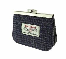 Ladies 100% Authentic Harris Tweed Coin Clasp Purse Blue & Black Fleck New