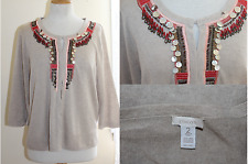 CHICO'S - Sz 2 L -Lux Linen Knit Beaded Sequined Art-to-Wear Cardigan Sweater