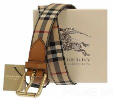 NEW BURBERRY HORSEFERRY CHECK LOGO BROWN LEATHER BUCKLE BELT 90/36