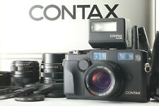 【ALMOST UNUSED】 CONTAX G2 BLACK FILM CAMERA + 28mm 45 90 Lens TLA 200 From JAPAN