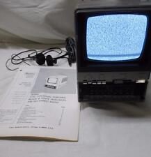 "Vintage SEARS 5"" B/W TV AM/FM Stereo Radio Battery w/manual, power cords"