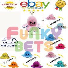 Reversible Flip Octopus Keychain Metal Key Ring Plush Doll Toys Bag Pendants