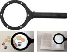LUPE 5 FACHE VERGR�–SSERUNG Handlupe Lesehilfe BELEUCHTET Brillenträger 6 LED A