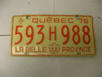 1976 76 Quebec Canada License Plate 593H988