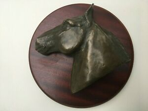 HORSE HEAD WALL PLAQUE BRONZE ON WOOD