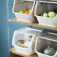 Küche Bedroomed Lagerung Stapeln Stapelbar Korb Obst Gemüse Racks N4X6 Weiß V2F0
