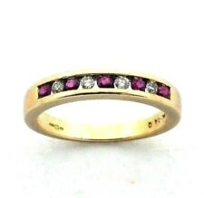 Ladies/womens, 9ct gold half eternity rIng set with ruby and diamond, UK size M