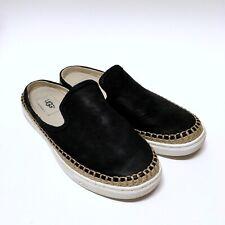 UGG Australia CALEEL Black Leather  Slip On Sneakers Loafers Mules 1010102